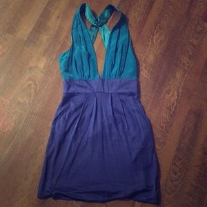 Two toned blue BeBe dress with gold belt